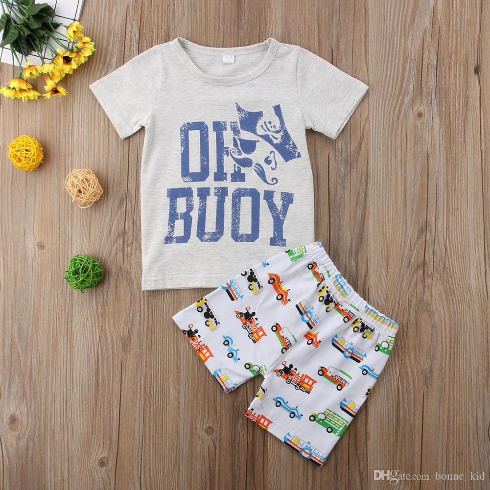 Baby kids boys clothes cartoon gray pirate T-shirt+cars shorts 2pcs Set outfit clothing baby boy casual sport toddler summer boutique 1-6Y