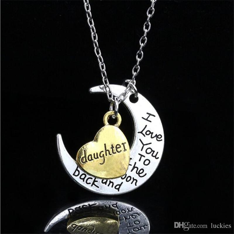 Ich liebe dich bis zum Mond und zurück Silber Halskette Mom Papa Tochter Sohn Oma Opa Familie Choker Anhänger Halskette Männer 066