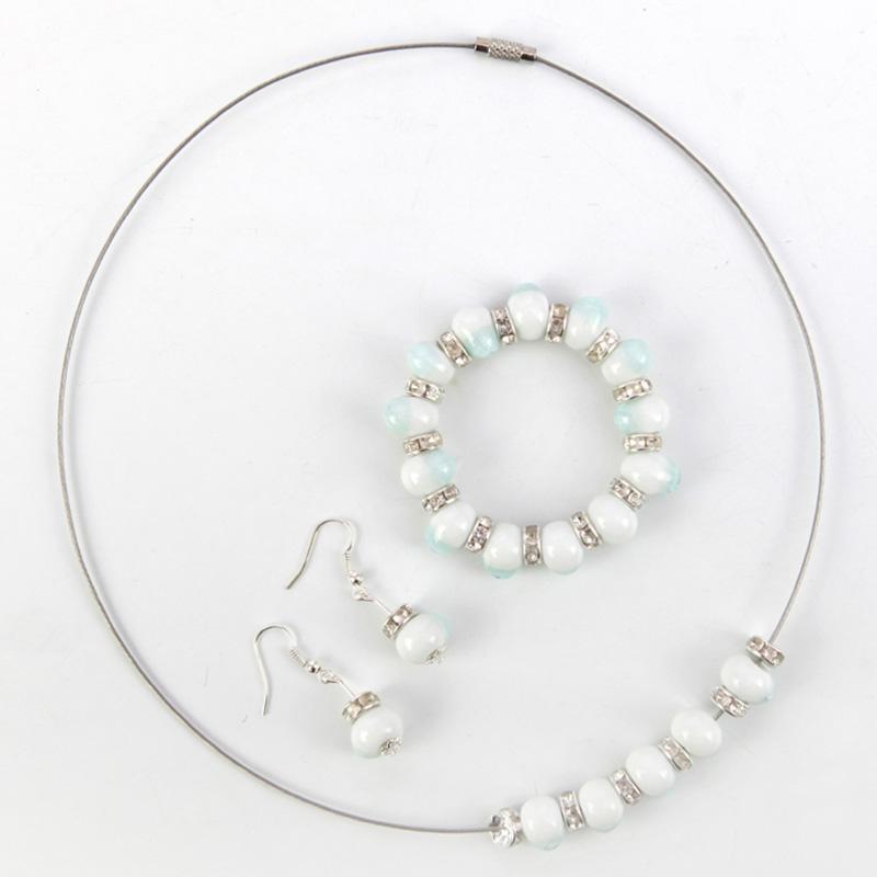 BCCAT fashion handmade ceramic beads jewelry set bracelet necklace earring for women loves gift