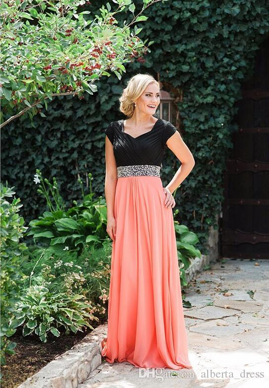 Coral Two Tones Long Modest Bridesmaid Dresses 2018 With Cap Sleeves Beads Belt Chiffon A-line Floor Brides Maid formal dresses evening