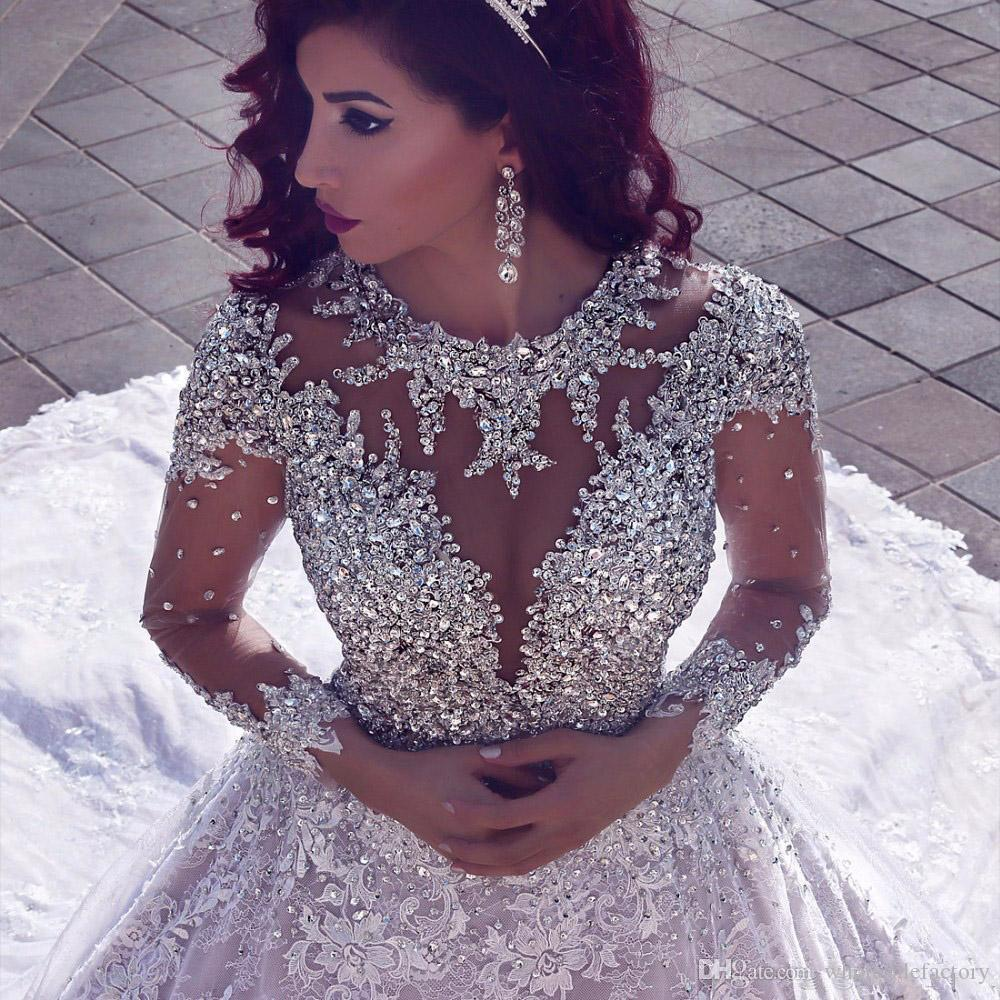 2018 Luxo Árabe Sheer Mangas Compridas Rendas vestido de Baile Vestidos de Casamento Tule Rendas Applique Cristais Frisados Capela Trem de Noiva Vestidos de Casamento