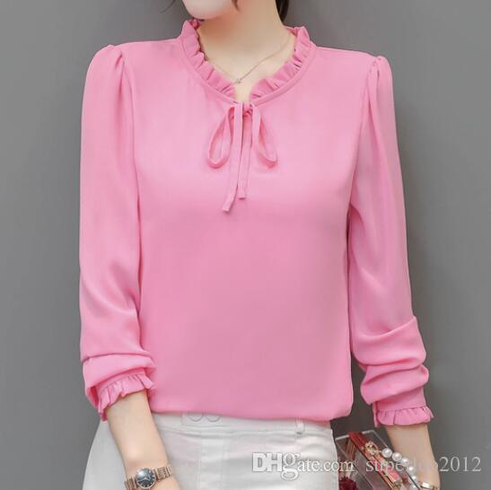 d3c80a3ea 2019 Women S Chiffon Blouse Sweet Bow Tie Neck With Drawstring Ruffles  Chiffon Shirts Long Sleeve Summer Blouse OL Top For Business From  Superleo2012