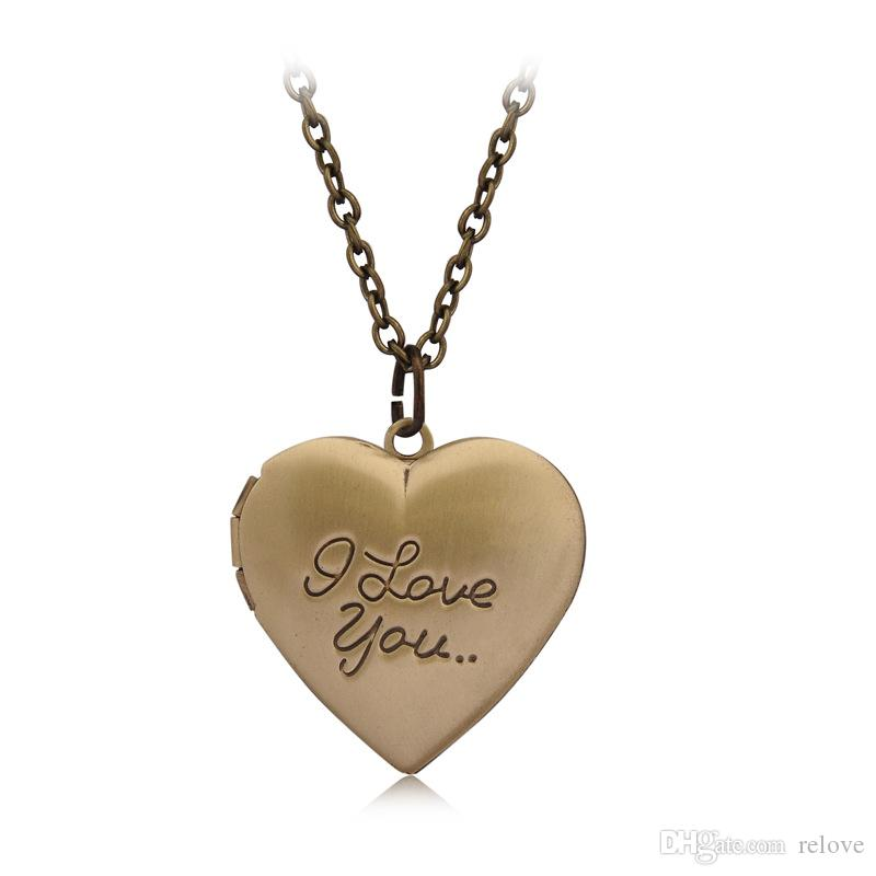 Wholesale- Valentine Lover Gift Word I Love You Designs Photo Frames Can Open Locket Pendant Charm Necklaces Heart Pendants
