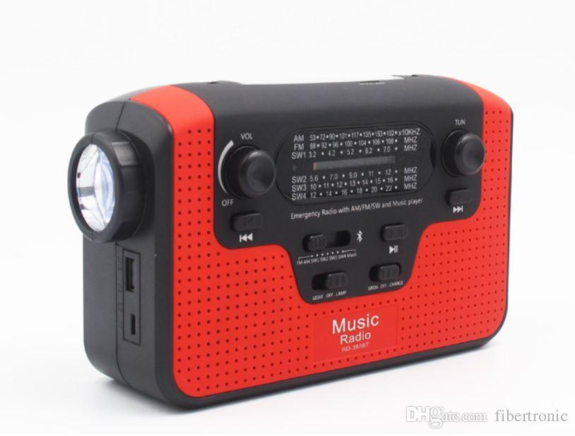 Portable solaire radio FM AM manivelle auto-alimenté lampe de poche LED + haut-parleur Bluetooth + chargeur de téléphone portable carte SD USB Radio de survie de secours