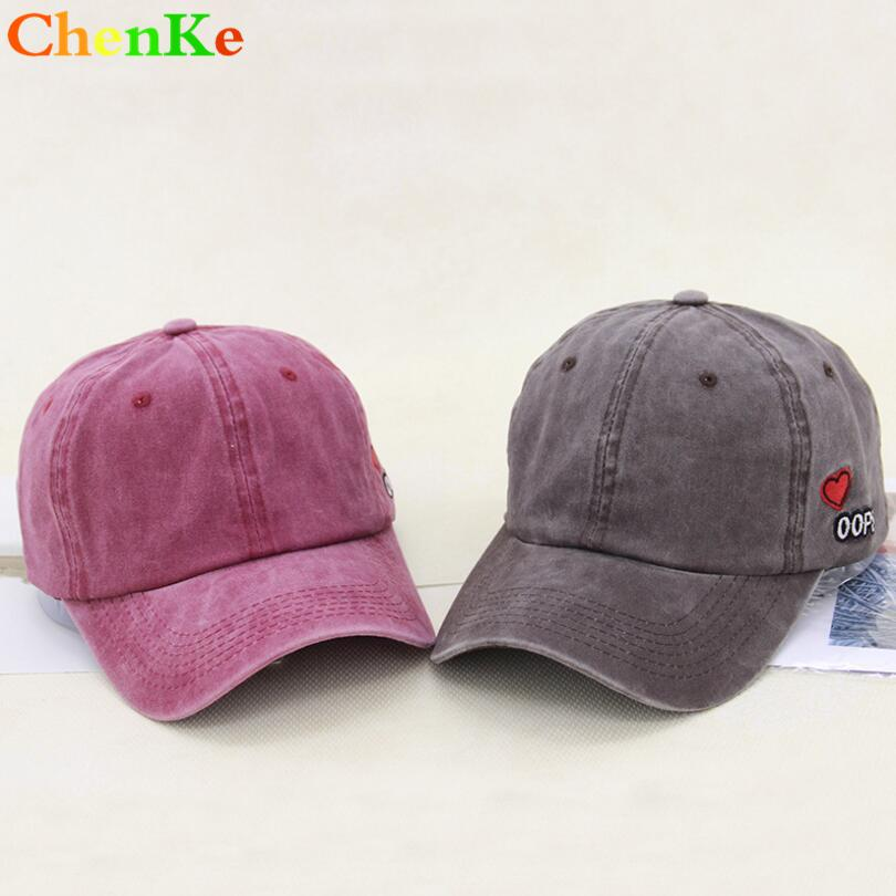 ChenKe 100% Washed Distressed Denim Baseball Cap Snapback Hat Vintage Hat  Men Women Caps Casquette Hats Heart Embroidery Gorras Caps Hats Fitted Cap  From ... 34fb4ad78489