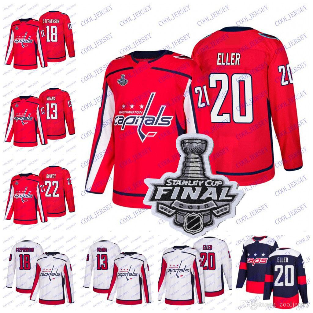 1501debe007 2019 2018 Stanley Cup  20 Lars Eller 18 Chandler Stephenson 13 Jakub Vrana  22 Madison Bowey Washington Capitals Hockey Jerseys Red White Stitched From  ...