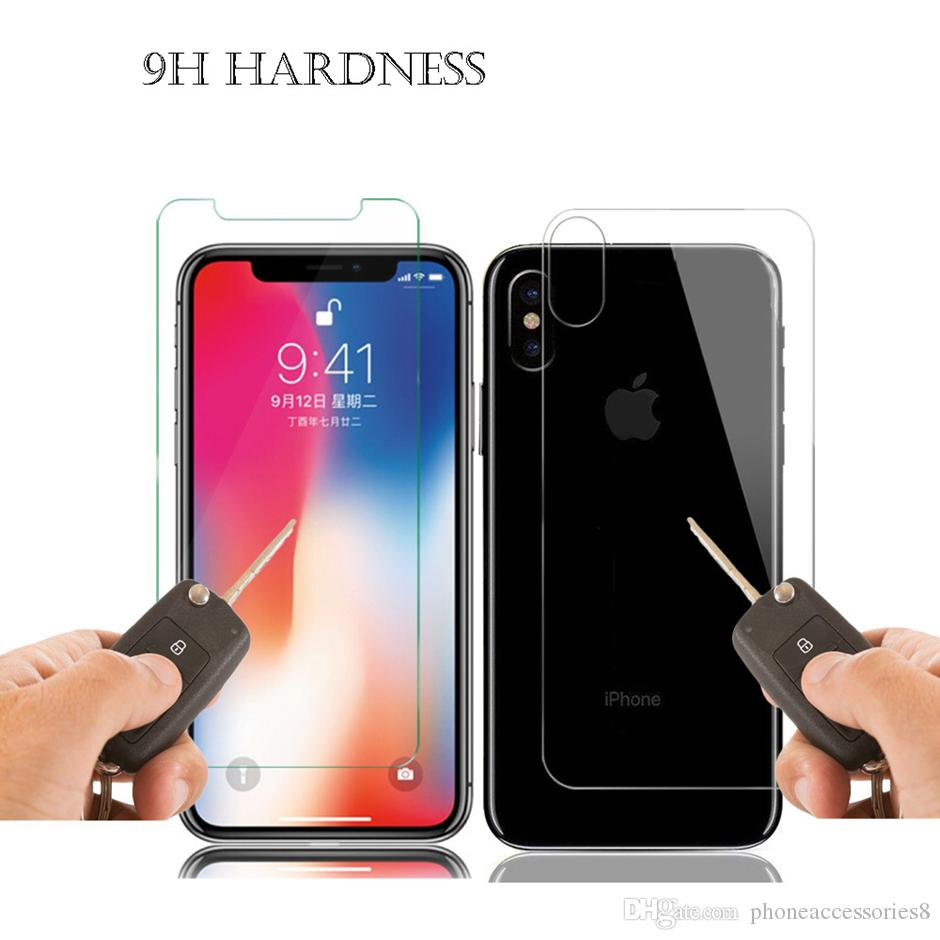 Vorder- und Rückenglasplay-Bildschirmschutzfolie für iPhone 12 Mini 11 PRO MAX XR XS X 8 7 plus 2 stücke Film in einem Einzelhandelspaket