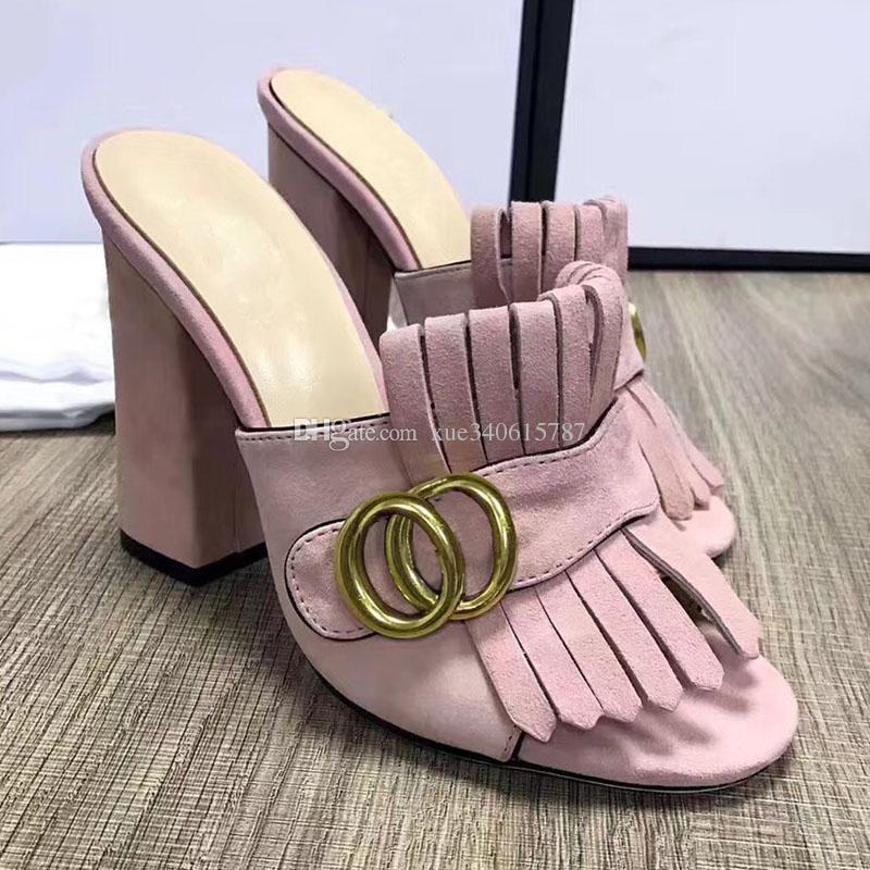 새 도착 프린지 술 검투사 샌들 여성 오픈 발가락 통통 높은 뒤꿈치 신발 여성 브랜드 뮬러 신발 size35-40