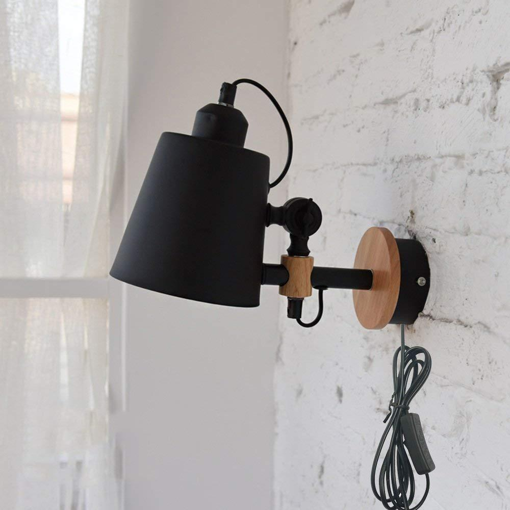 North European Plug In Wall Lamps Can Adjust Wall Sconce Bedrooms Solid Wood Wall Light Color Black