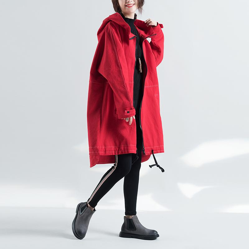 0f032ac5518 2019 2017 High Quitly Trench Coat For Women Plus Size Women S Long  Windbreaker Spring Autumn Female Loose Red Color Hooded Coat From  Yzlwatchfine