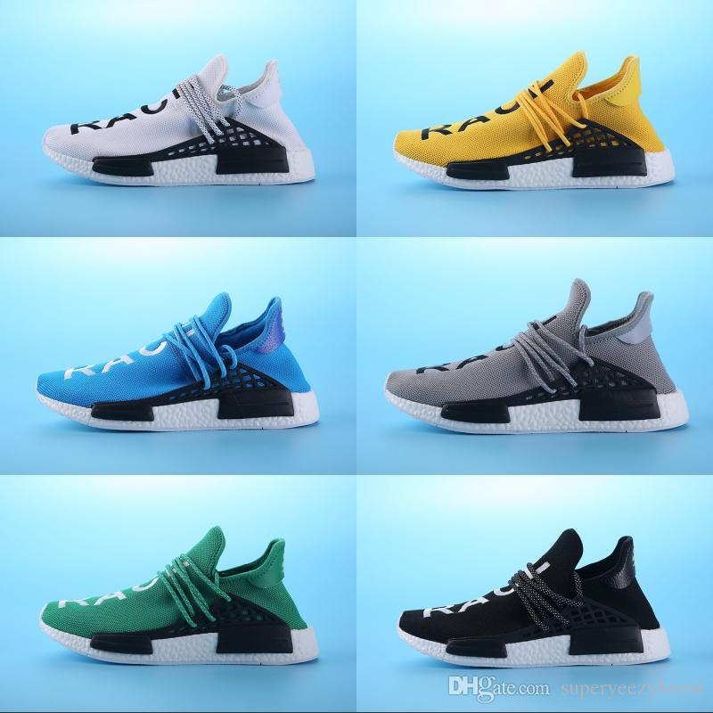 promo code 5410c 18840 NMD human race Running Shoes Pharrell Williams x HU Men women runners shoes  Yellow Blue Green Grey White Athletics Sneakers US 5-11