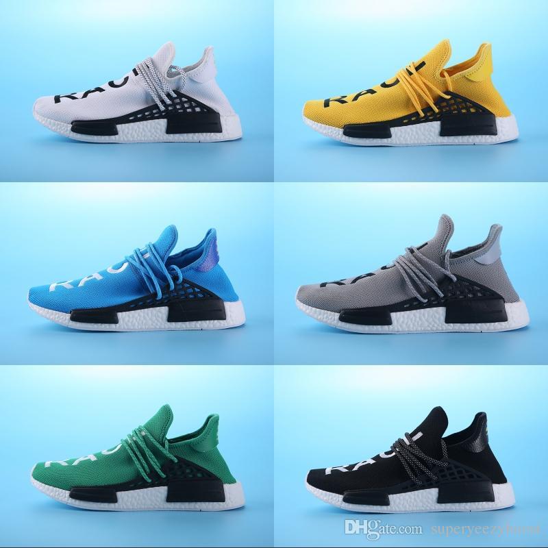 promo code d9e66 7dfb4 NMD human race Running Shoes Pharrell Williams x HU Men women runners shoes  Yellow Blue Green Grey White Athletics Sneakers US 5-11