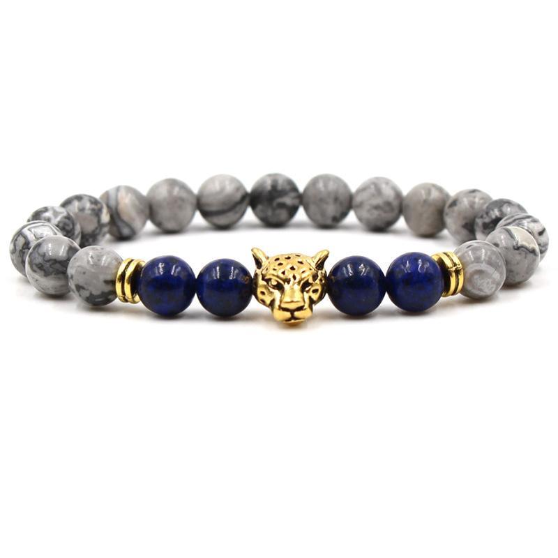 Unisex 8mm Doğal Taş Leopar Bilezik Lazuli Akik Tigereye Alaşım Yoga Bilezik Kadın Erkek Hediye Için