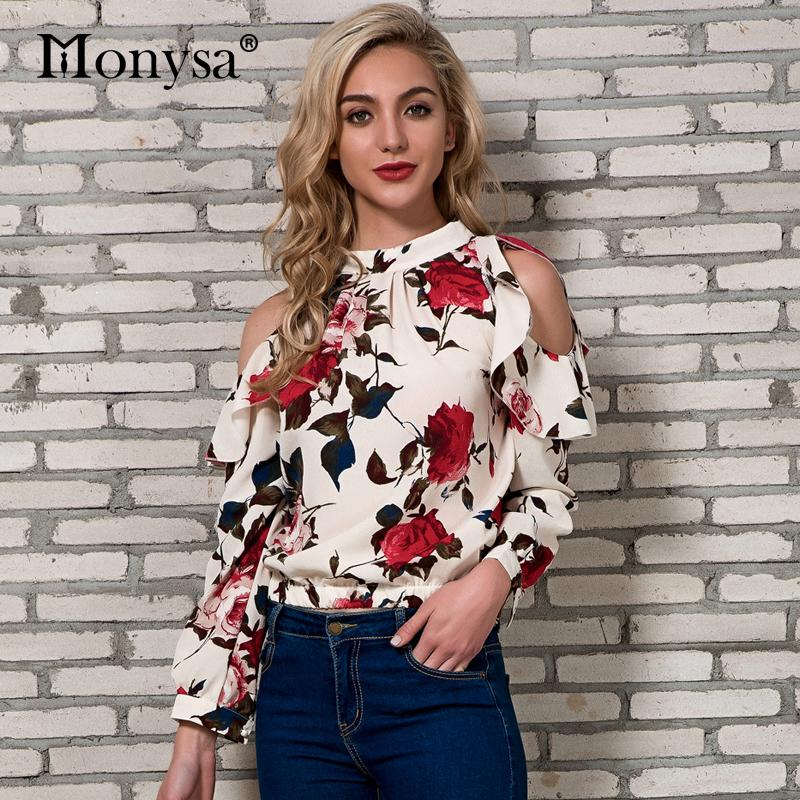 b4dc06432c4ce 2019 Cold Shoulder Tops Womens 2018 New Arrivals Spring Long Sleeve Blouses Ladies  Floral Print Chiffon Streetwear Blouse Women Y1891107 From Tao01