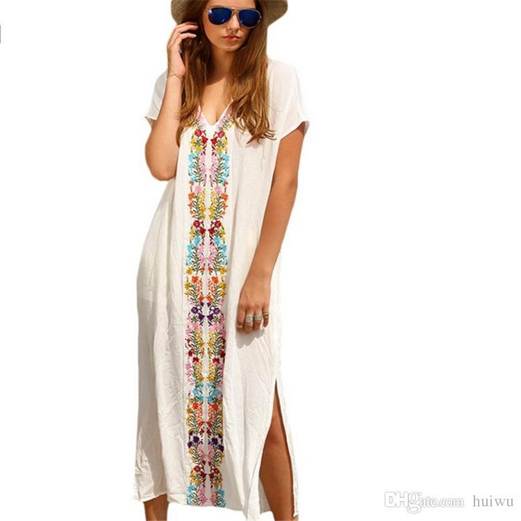 c6e6e03b58 Women Kaftan Vintage Casual Fashion Swimsuit Swimwear Crochet Smock  Vestidos Verano Party Summer Sexy Printed Beach Dresses Womens Long T Shirt  Dress Casual ...