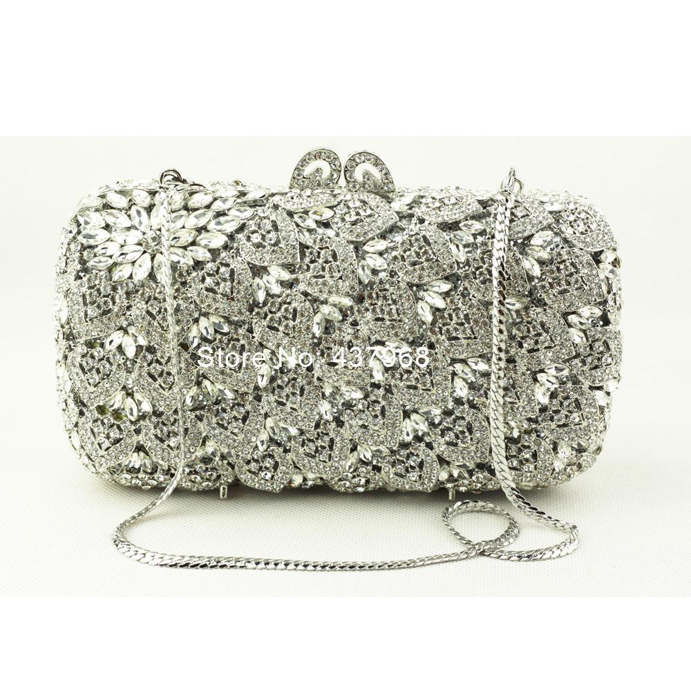 Quality Luxury Women Designer Clutch Handbag Handmade Silver Crystal Clutch  Evening Bags Golden Wedding Party Woman Bag Branded Handbags Clutches  Online ... bec0369c49a6