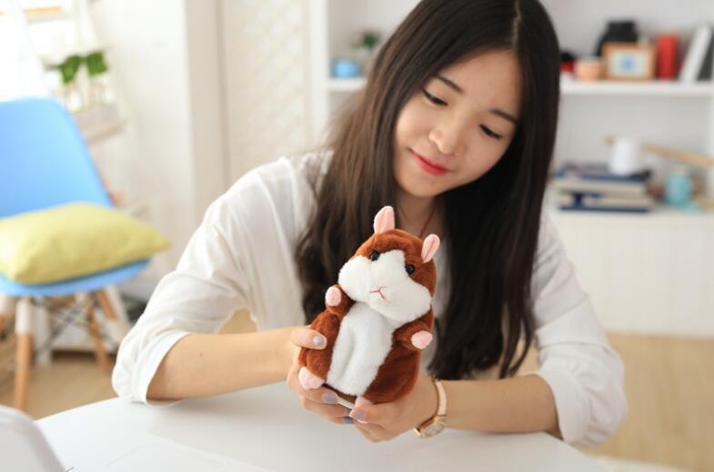 Parler Hamster En Peluche Poupée Jouets Mignon 15cm Anime Bande Dessinée Kawaii Parler Parler Son Disque Hamster Parler Cadeaux De Noël pour Enfants Enfants