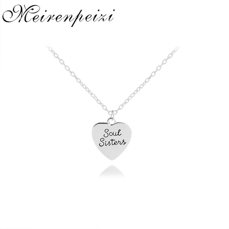 Best Friends BFF Forever Soul Sisters Valentine Heart Charm Letter Engraved  Necklaces Friendship Jewelry Graduation Gift