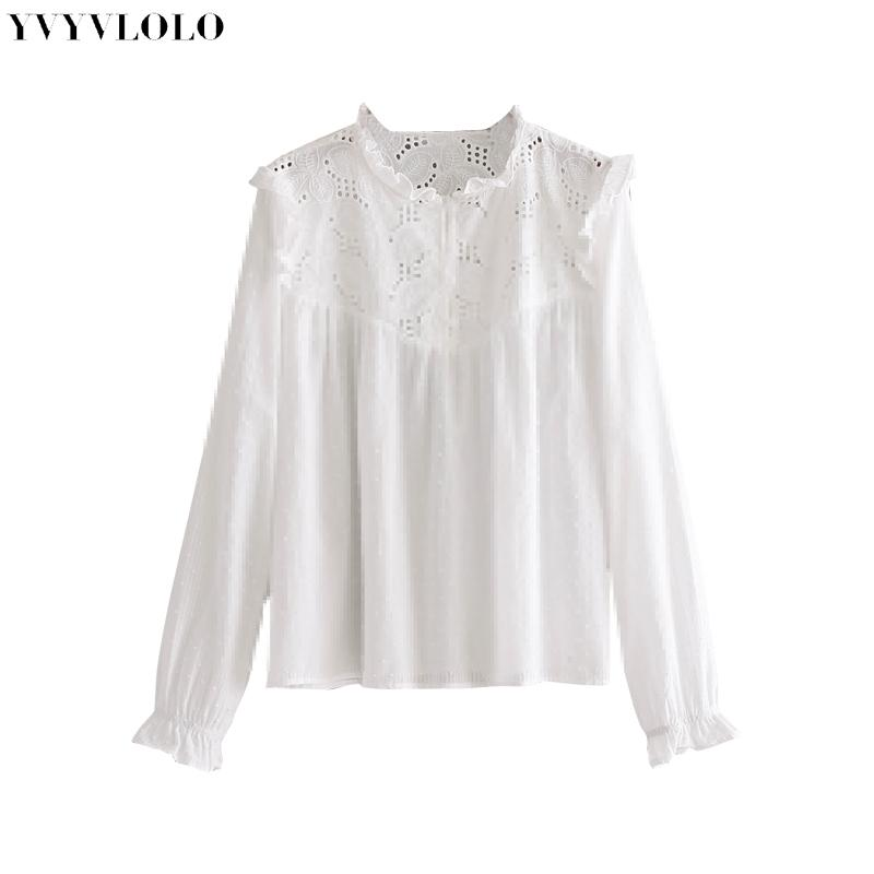 56642d500e162 2019 YVYVLOLO Women Sweet Hollow Out Ruffled Lace Blouse Shirts See Through  Long Sleeve Pleated Blouse Ladies Summer Cute White Tops From Edward03