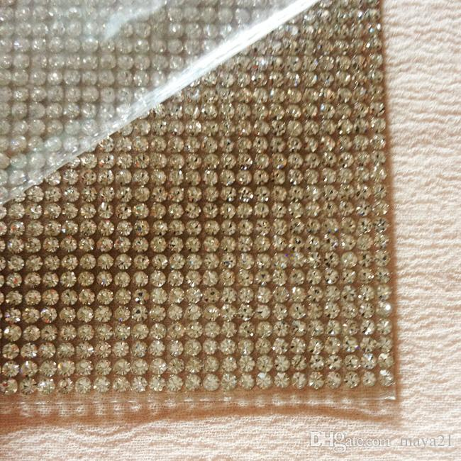4fc28ce637a3 Wholesale SS6 2mm Super Bling Clear Rhinestone Adhesive Mesh Hotfix Sheets  Crystal Glass Sheets For Wedding Event Ceremonies Decorations Wedding  Decorator ...