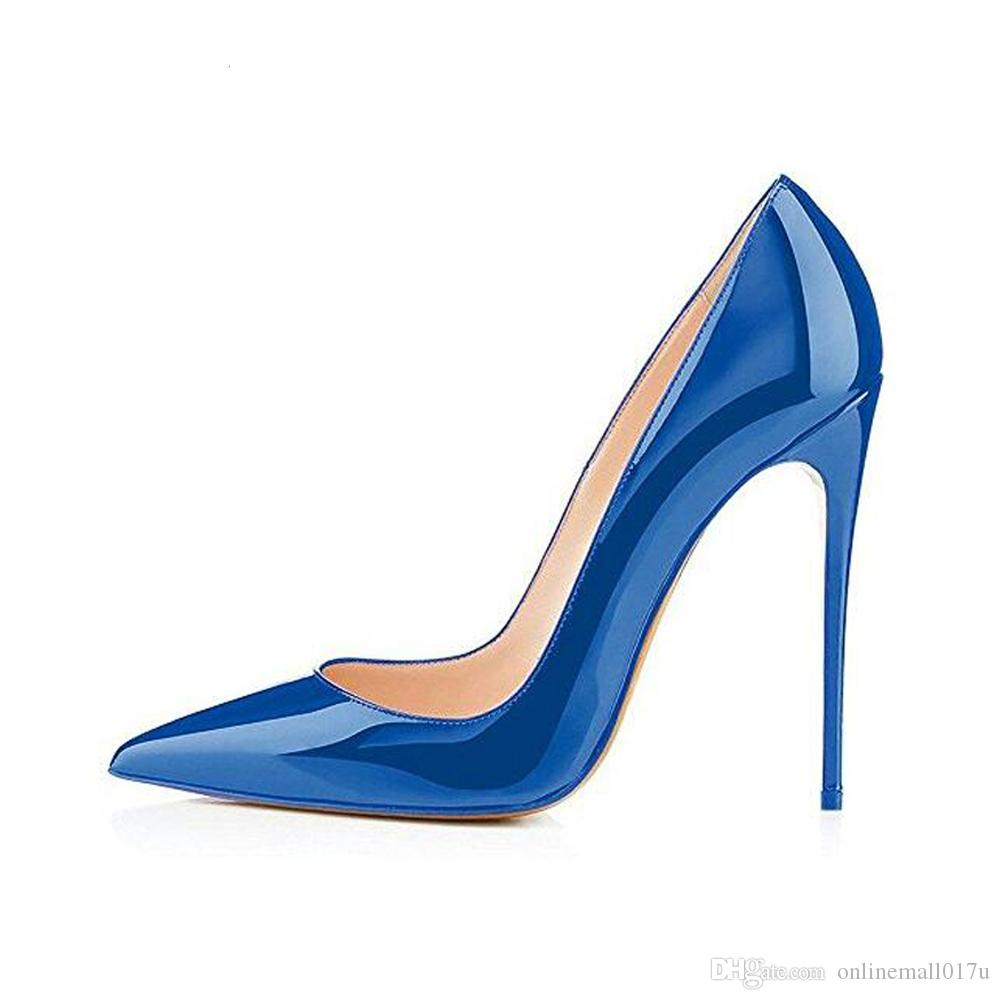 bc1078a4d9a Elegant Women Dark Blue Patent Leather Pointy Evening Dress Pumps High Heels  Ladies Party Shoes Plus Size Scholl Shoes Silver High Heels From  Onlinemall017u ...