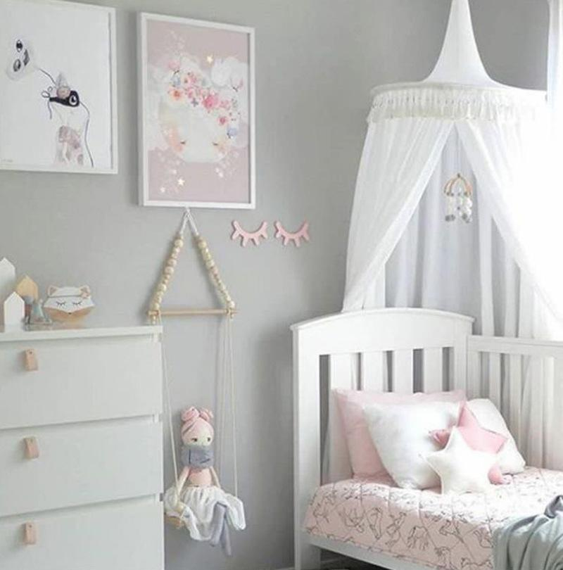 New Round Mosquito Net Room Decoration Baby Girl Bedding Bed Canopy Cotton Linen Nordic Style Mantle Hung Dome With Tassel Foldable Mosquito Net No See Um ... & New Round Mosquito Net Room Decoration Baby Girl Bedding Bed Canopy ...