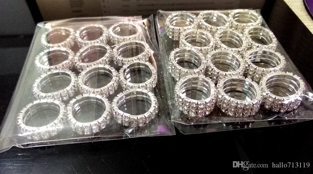 48 adet Elastik Boyutlandırılabilir Zirkon Yüzükler 2 Satır 3 Satır MIX kadın Bayanlar Kristal Parlak CZ Charm Yüzükler Düğün Nişan Yüzükler Parti Takı