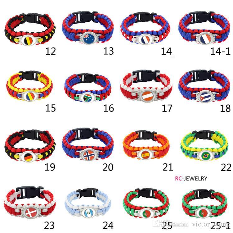 Mix Styles National Flag Paracord Survival Bracelets Custom Made Camping Sports Bracelet Customized logo Word Cup umbrella bracelet