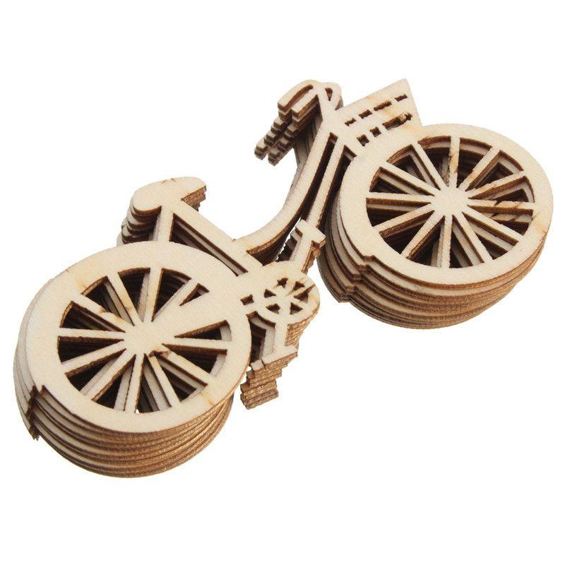 Vintage bicicleta de madera adorno 10 unids / set diy hechos a mano de la bici artesanía fiesta de cumpleaños boda decoraciones de navidad para el hogar navidad lz1418