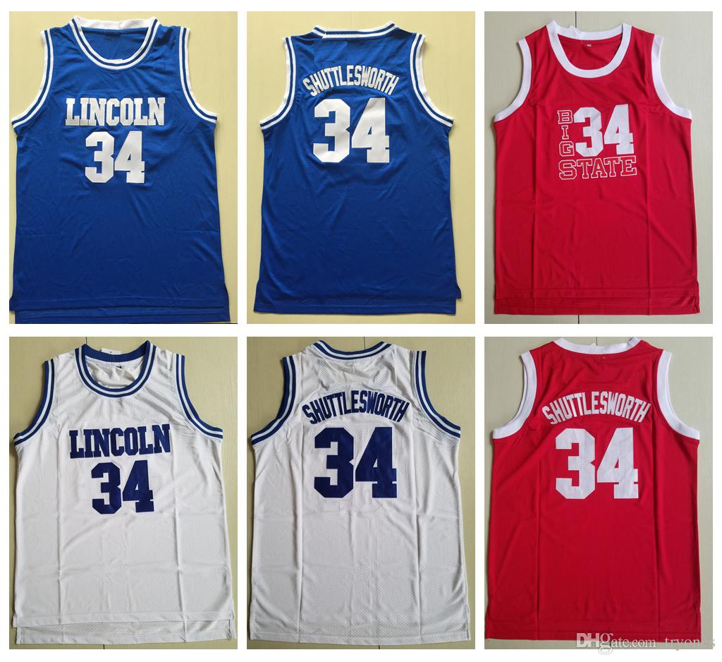 online store 596d9 2f942 Mens Jesus Shuttlesworth Lincoln High School #34 Ray Allen Basketball  Jersey 1998 Film He Got Game Jersey Blue White Red Stitched Shirts
