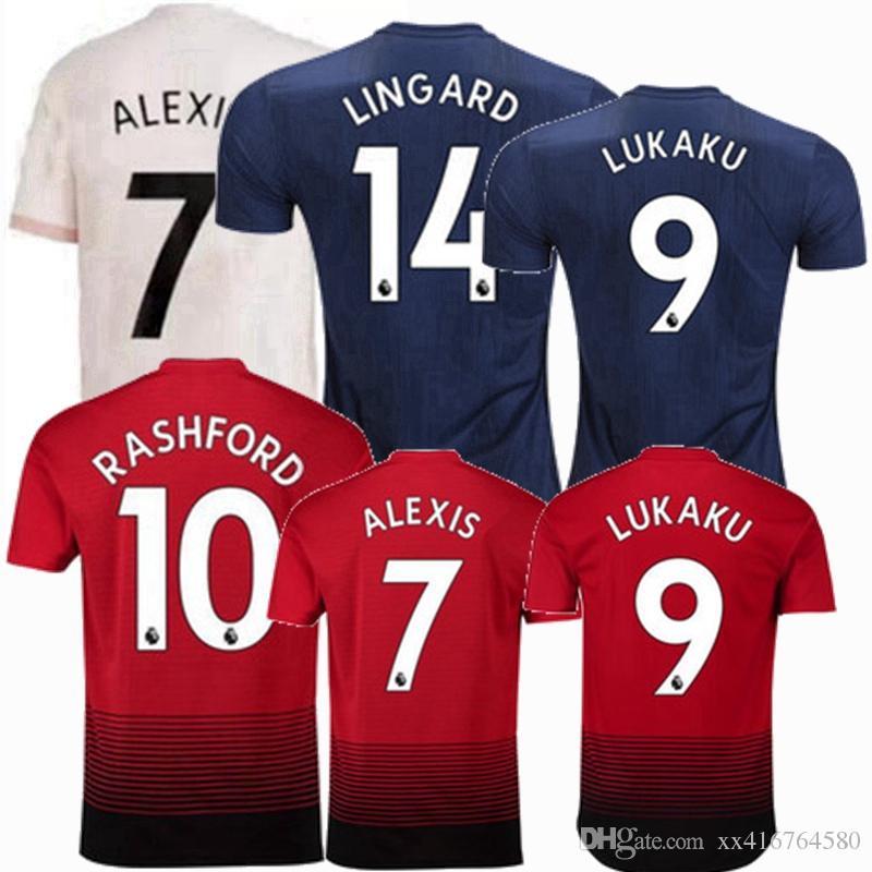 18 19 POGBA Camisetas De Fútbol 2018 2019 Camiseta De Fútbol MATA ALEXIS  LINGARD RASHFORD LUKAKU MARTIAL Manchester En Casa Lejos 3rd MATIC United S  2XL Por ... 51a9d735d09b3