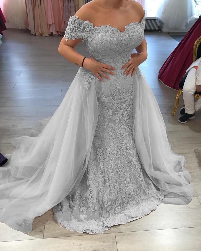 Querida Lace Appliqued Tulle Prata Off The Shoulder sereia Trumpet Vestidos Train destacável Skirt Prom Vestido