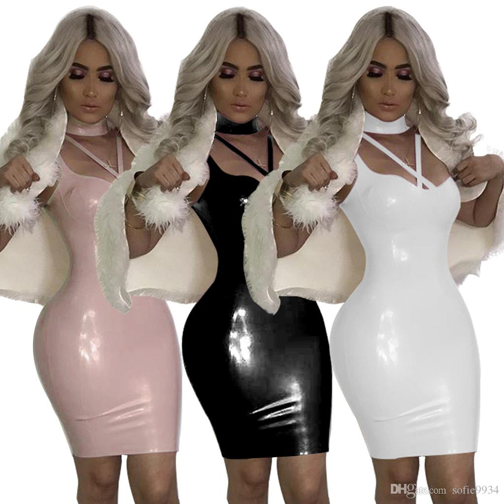 3bb19c1f30f5f Women 2018 v Neck shiny pu faux leather wet pink Dresses Strap Bodycon  Bandage midi Dress Clubwear vestido de fiesta
