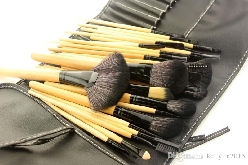 Makeup Brushes Sets Pink Black Professional Wood Hand Face Foundation Eyeshadow Brush Cosmetic Tool Make up Brushes with Bag