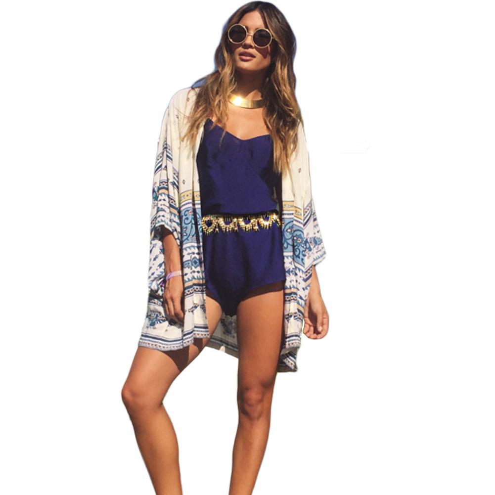 Compre Mujeres Playa Kimono Cardigan 2019 Verano Más El Tamaño De Gasa Thin  Top Vintage Impresión Suelta Beach Cover Up Amarillo Saida De Banho A   28.03 Del ... 9dc579534812