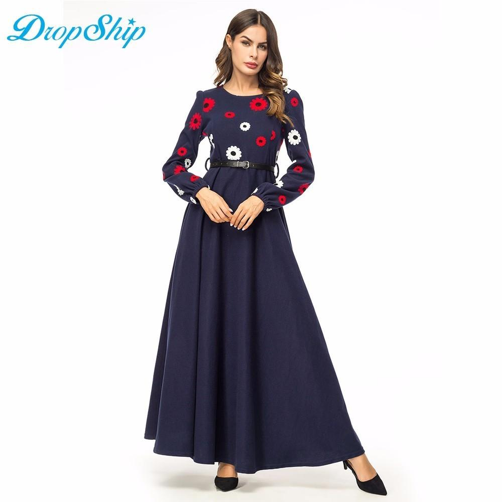 3116d8e54 Dropship Maxi Dresses Winter 2018 Thicken Formal Dress Swing Chic  Embroidered A Line Long Dress Muslim Middle East Clothing Belt Online  Dresses Wrap Dresses ...
