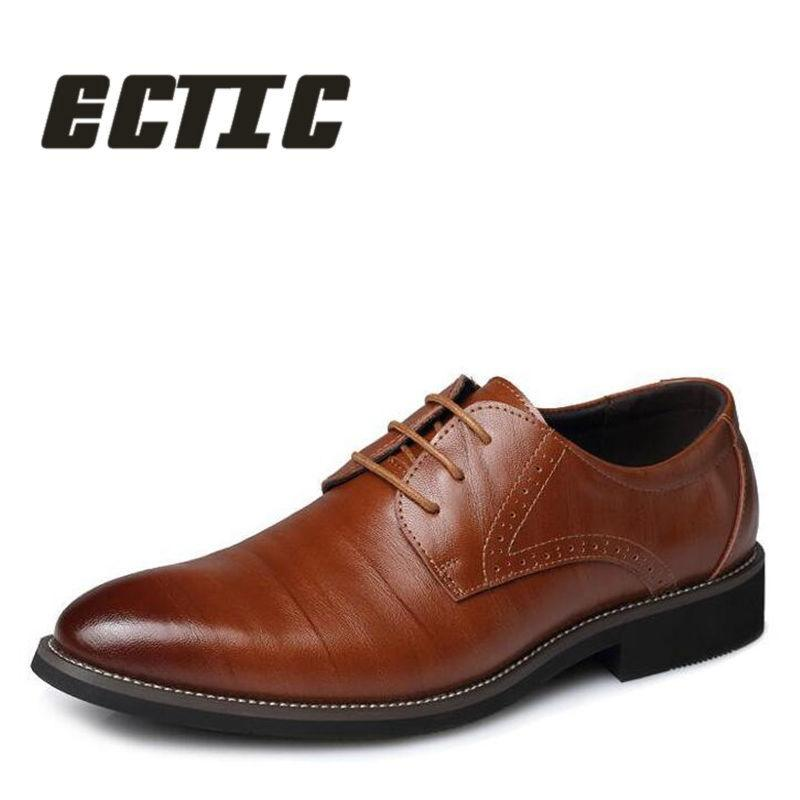 de3b51276ade ECTIC 2018 New Brend Spring Fashion Men Plus Size Comfortable Leather Shoes  Casual Flat Shoes Lace Up Wedding Dress DD 050 Comfort Shoes Mens Boat Shoes  ...