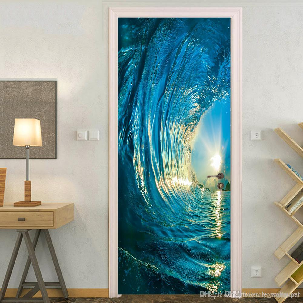 Gate 3D Stickers DIY Mural Bedroom Home Decor Poster PVC Surf Waterproof Imitation Door Sticker Wallpaper Decal