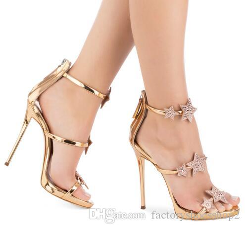 f94c85e03c5d Women Rose Gold Patent Leather High Heel Sandals With Crystal Stars Evening  Dress Heels Shiny Sliver Slim Platform Summer Shoes Flat Shoes Wedge Shoes  From ...