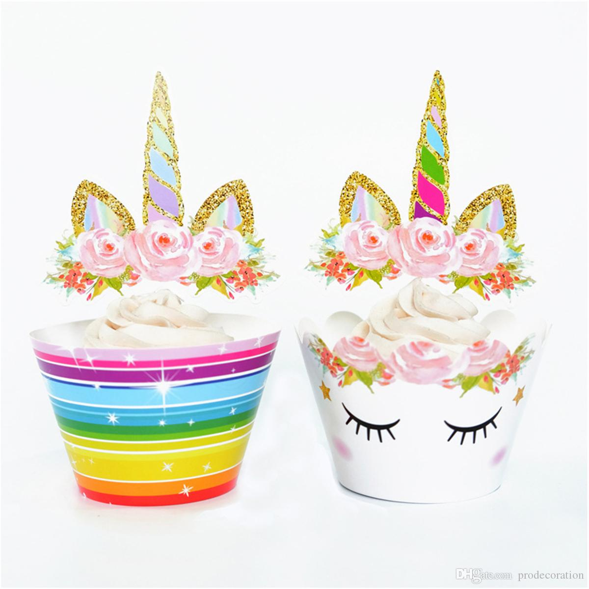 Kids Loved Rainbow Unicorn Cupcake Wrapper Cup / set Toppers Baby Shower Bambini Bambini Festa di Compleanno Decorativi