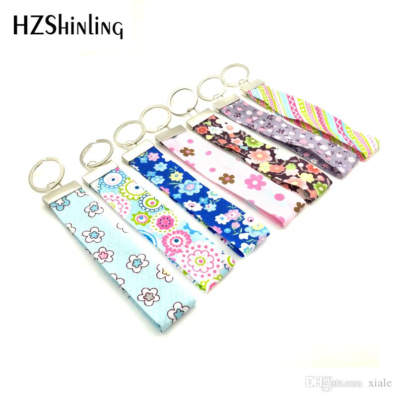 Ribbon floral Flower Wrist Key Holder Funny Summer Keyring Beautiful fabric Key Fob For Cars Scooters Tag Gifts for Teachers F-008