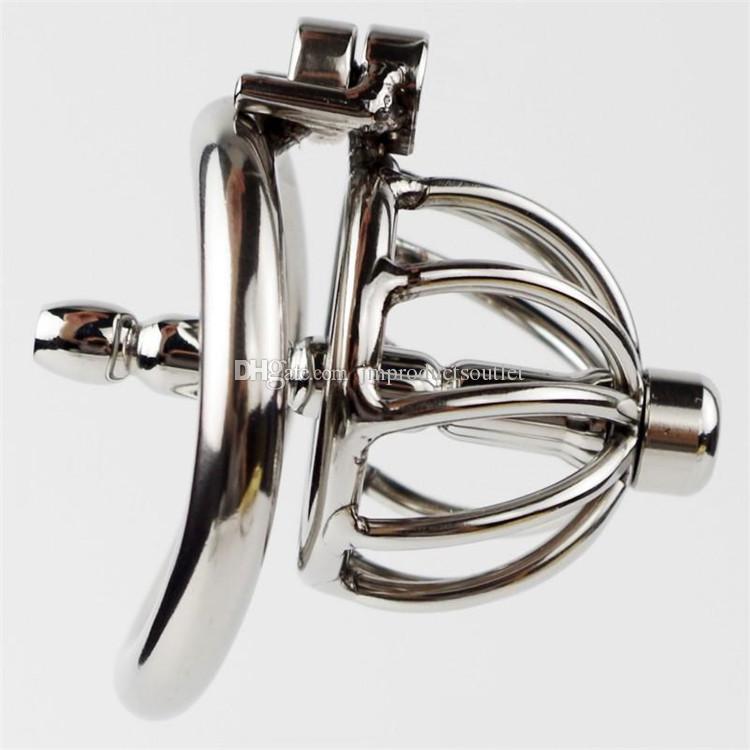 잠금 없음 디자인 Urethral 소리와 스테인리스 순결 케이지 짧은 작은 수탉 케이지 곡선 기본 반지 음 경비 장치