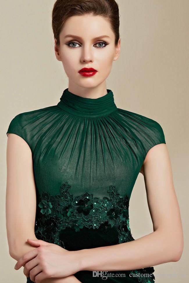 Elegante Dark Green Velvet High Neck Appliques A-Linie lange Brautkleider 2018 vestidos