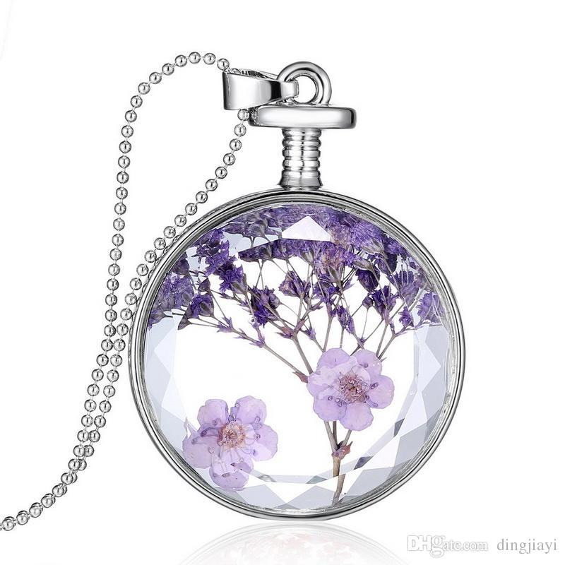 حار مجوهرات سحر التبعي الذاكرة بالفضة الأرجواني لافندر المجففة زهرة النبات قلادة جولة قلادة المنجد للنساء