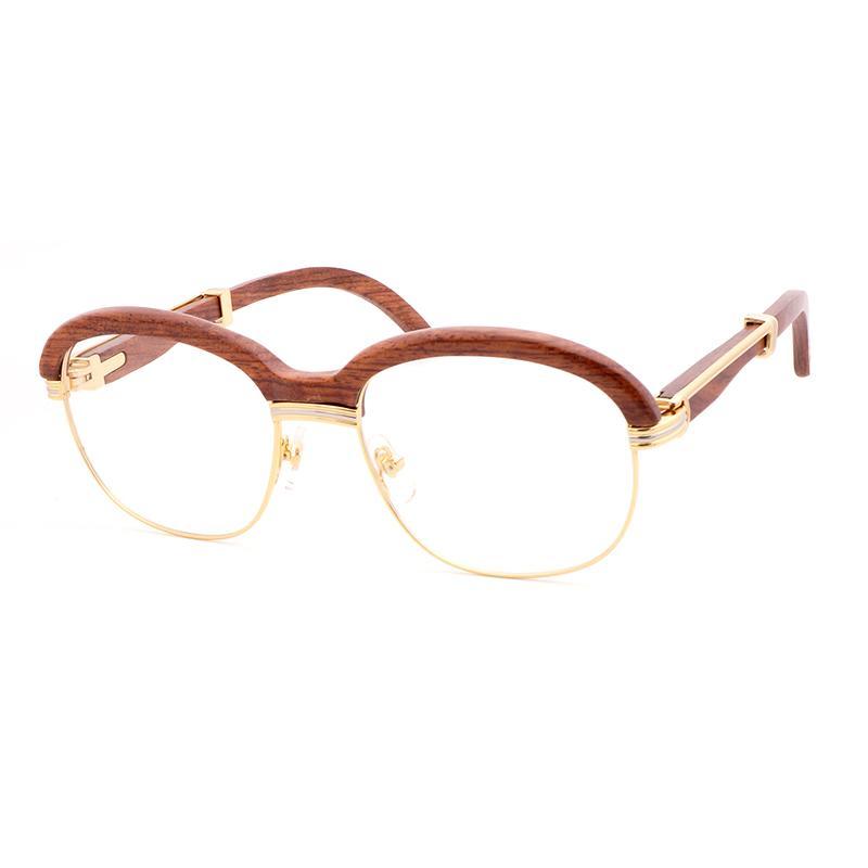 6c2419f7a Compre Óculos De Sol De Madeira Dos Homens Das Mulheres Do Vintage  Envoltório Óculos De Sol Gafas Para O Clube E Condução Rodada Óculos Claros  Retro Óculos ...