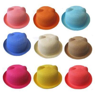 99d95fed7 Baby Straw Hat Summer Kids Cat Ear Hats Lovely Beach Cap Children Character  Girls Boys Solid Sun Hat Women Men Stingy Brim Hats 50 pcs