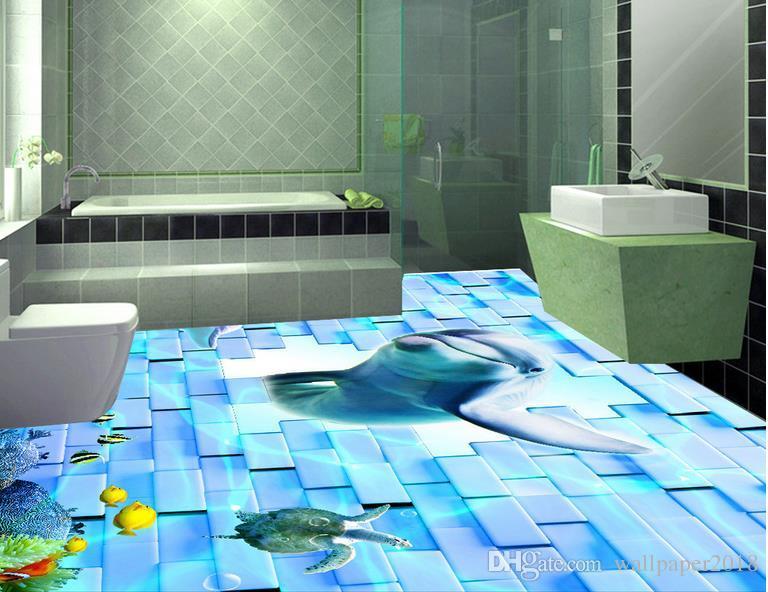 Papel pintado de PVC a prueba de agua Pared de ladrillo delfín suelo tridimensional Suelo de vinilo PVC Baño