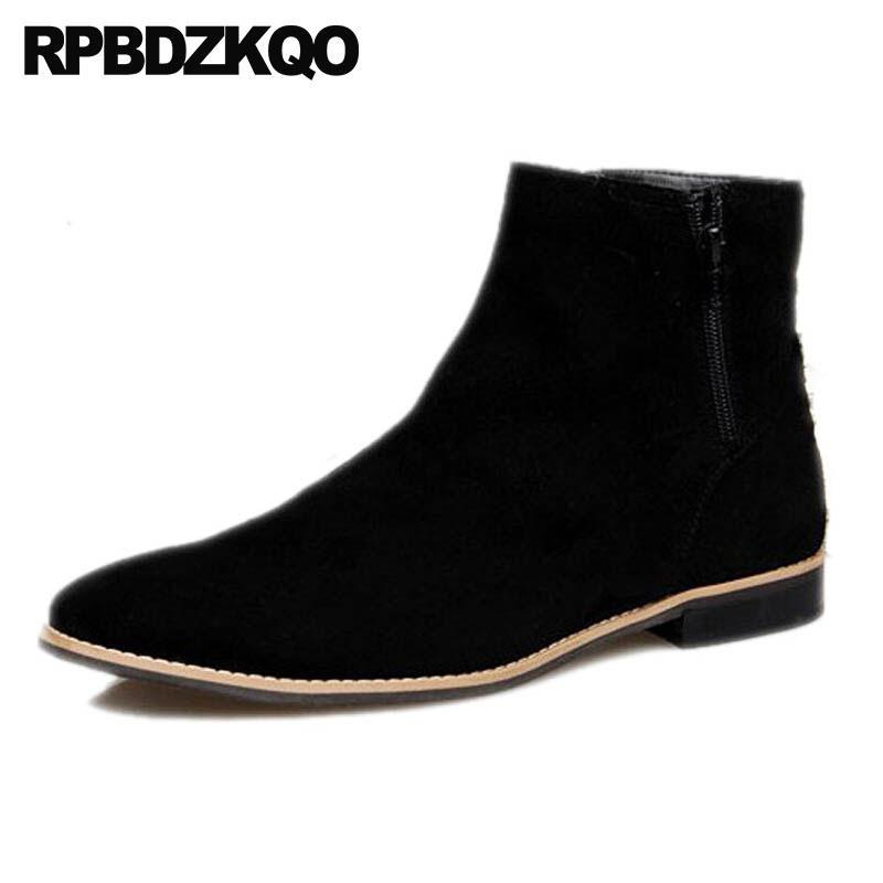 f3b98b9605957 Compre Botas Altas De Invierno Para Hombres Calientes Hombres Botas Bajas  De Ante Zapatos Planos Botas Negras De Otoño Botas De Tobillo 2018 Botas De  Piel ...