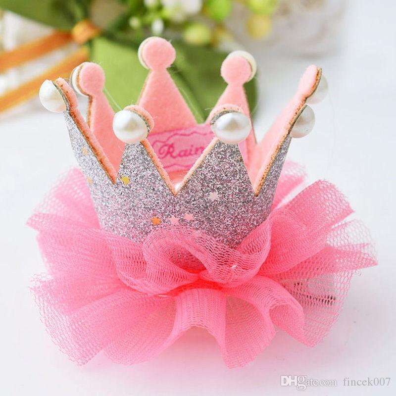 02ec89248520 Compre 1 Piezas Lovely Cute Girls Crown Princess Hair Clip Perla De Encaje  Shiny Star Diadema Horquillas Accesorios Para El Cabello Los Productos Más  ...