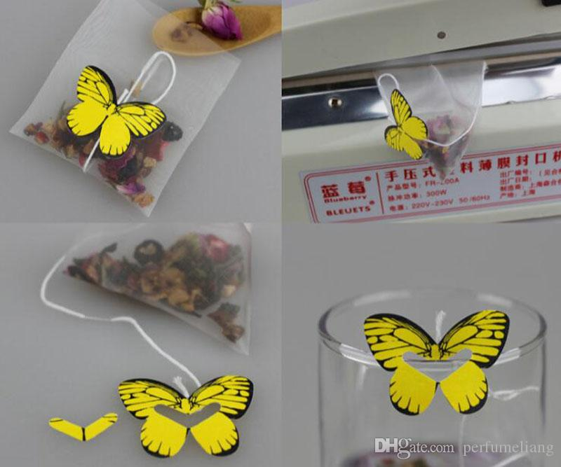 Leerer Nylon-Teebeutel mit String Heißsiegelfilterpapier Lose Teebeutel Infuser Sieb Butterfly Label 5,8 * 7cm ZA5984